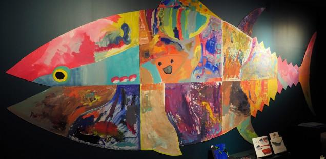 ワークショップ「巨大なマグロを描いちゃうよ!」@絵と言葉のライブラリー ミッカ